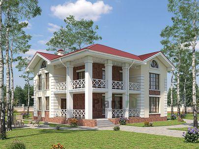 Проект двухэтажного дома 13x12 метров, общей площадью 189 м2, из кирпича, c террасой, котельной и кухней-столовой