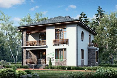 Проект двухэтажного дома 13x12 метров, общей площадью 191 м2, из газобетона (пеноблоков), c террасой, котельной и кухней-столовой