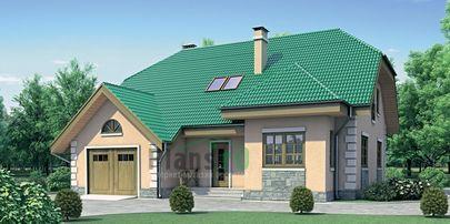 Проект двухэтажного дома 13x12 метров, общей площадью 192 м2, из газобетона (пеноблоков), c гаражом, котельной и кухней-столовой