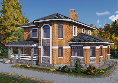 Проект двухэтажного дома 13x12 метров, общей площадью 198 м2, из газобетона (пеноблоков), c террасой, котельной и кухней-столовой