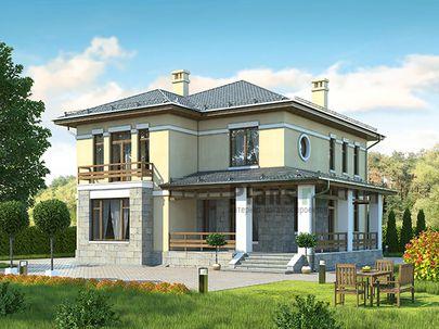 Проект двухэтажного дома 13x12 метров, общей площадью 204 м2, из газобетона (пеноблоков), c террасой, котельной и кухней-столовой