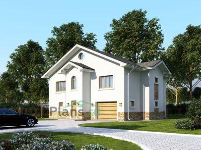 Проект двухэтажного дома 13x12 метров, общей площадью 205 м2, из газобетона (пеноблоков), c гаражом, котельной и кухней-столовой