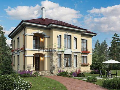 Проект двухэтажного дома 13x12 метров, общей площадью 215 м2, из керамических блоков, c террасой, котельной, лоджией и кухней-столовой