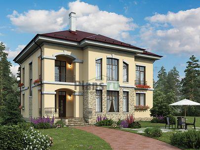 Проект двухэтажного дома 13x12 метров, общей площадью 227 м2, из газобетона (пеноблоков), c террасой, котельной, лоджией и кухней-столовой