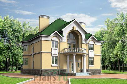 Проект двухэтажного дома 13x12 метров, общей площадью 234 м2, из керамических блоков, со вторым светом, c террасой, котельной, лоджией и кухней-столовой