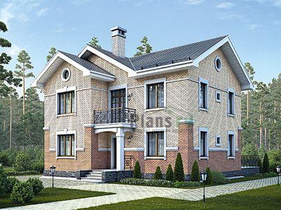 Проект двухэтажного дома 13x13 метров, общей площадью 174 м2, из керамических блоков, c террасой, котельной и кухней-столовой