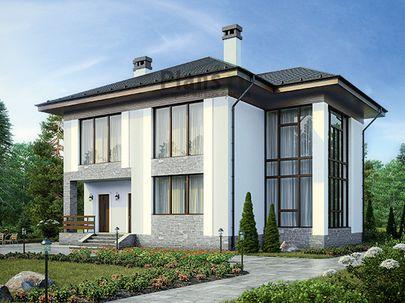 Проект двухэтажного дома 13x13 метров, общей площадью 190 м2, из газобетона (пеноблоков), со вторым светом, c террасой, котельной и кухней-столовой