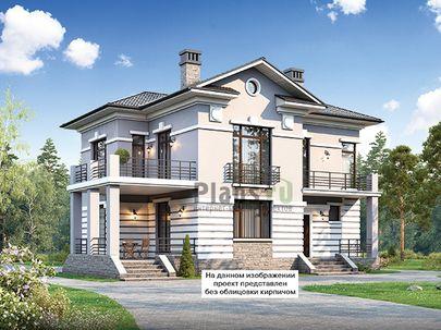 Проект двухэтажного дома 13x13 метров, общей площадью 190 м2, из кирпича, c террасой, котельной и кухней-столовой