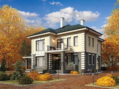 Проект двухэтажного дома 13x13 метров, общей площадью 191 м2, из газобетона (пеноблоков), c террасой, котельной и кухней-столовой