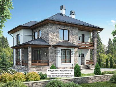 Проект двухэтажного дома 13x13 метров, общей площадью 205 м2, из керамических блоков, c террасой, котельной и кухней-столовой
