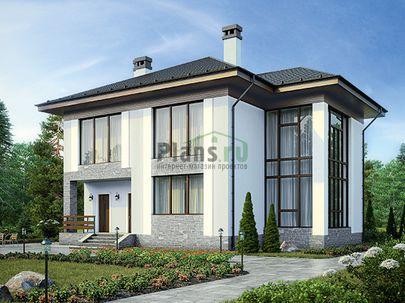 Проект двухэтажного дома 13x13 метров, общей площадью 209 м2, из керамических блоков, со вторым светом, c котельной и кухней-столовой