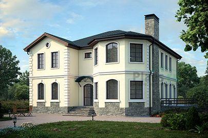 Проект двухэтажного дома 13x13 метров, общей площадью 249 м2, из керамических блоков, c террасой и котельной