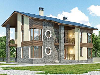 Проект двухэтажного дома 13x14 метров, общей площадью 180 м2, из газобетона (пеноблоков), c террасой, котельной и кухней-столовой