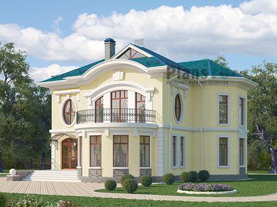 Проект двухэтажного дома 13x14 метров, общей площадью 180 м2, из кирпича, c террасой, котельной и кухней-столовой
