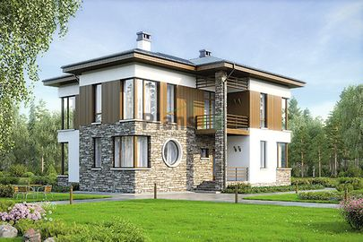 Проект двухэтажного дома 13x14 метров, общей площадью 189 м2, из кирпича, c террасой, котельной и кухней-столовой