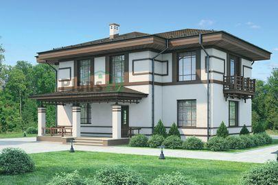 Проект двухэтажного дома 13x14 метров, общей площадью 207 м2, из газобетона (пеноблоков), c террасой, котельной и кухней-столовой