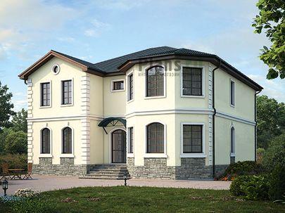 Проект двухэтажного дома 13x14 метров, общей площадью 258 м2, из керамических блоков, c гаражом, котельной и кухней-столовой