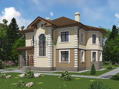Проект двухэтажного дома 13x15 метров, общей площадью 192 м2, из газобетона (пеноблоков), c террасой, котельной и кухней-столовой