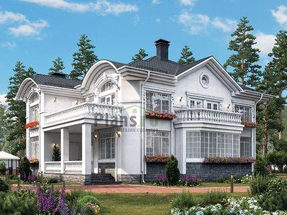 Проект двухэтажного дома 13x15 метров, общей площадью 222 м2, из кирпича, c террасой, котельной и кухней-столовой