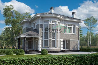 Проект двухэтажного дома 13x16 метров, общей площадью 190 м2, из керамических блоков, со вторым светом, c гаражом, террасой, котельной и кухней-столовой