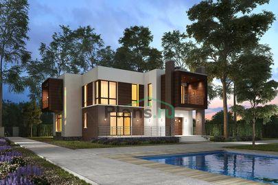 Проект двухэтажного дома 13x16 метров, общей площадью 215 м2, из газобетона (пеноблоков), c террасой, котельной, лоджией и кухней-столовой