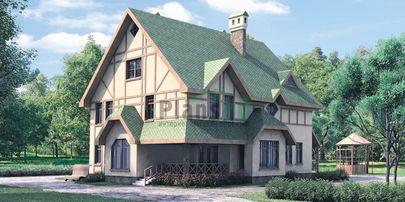 Проект двухэтажного дома 13x16 метров, общей площадью 286 м2, из керамических блоков, c террасой и котельной