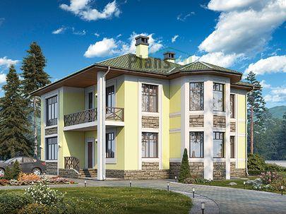 Проект двухэтажного дома 13x17 метров, общей площадью 249 м2, из керамических блоков, c террасой, котельной и кухней-столовой