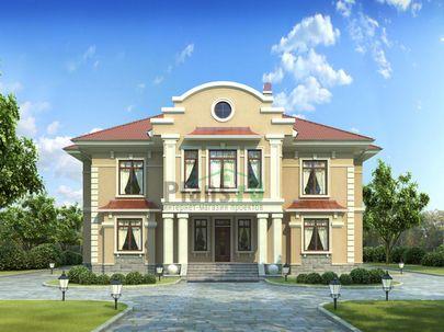 Проект двухэтажного дома 13x18 метров, общей площадью 331 м2, из керамических блоков, c котельной и кухней-столовой