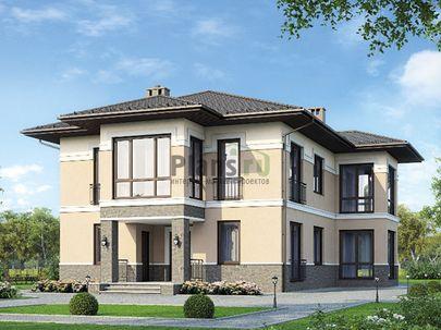 Проект двухэтажного дома 13x19 метров, общей площадью 247 м2, из газобетона (пеноблоков), c террасой, котельной и кухней-столовой