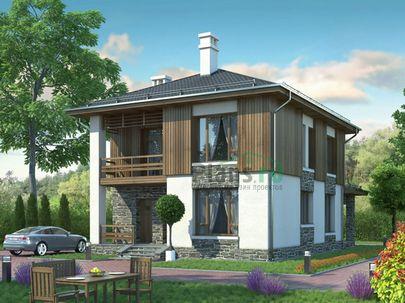 Проект двухэтажного дома 13x8 метров, общей площадью 122 м2, из газобетона (пеноблоков), c котельной