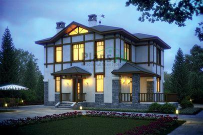Проект двухэтажного дома 13x8 метров, общей площадью 123 м2, из кирпича, c террасой и котельной