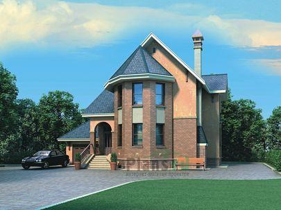 Проект двухэтажного дома 13x9 метров, общей площадью 168 м2, из газобетона (пеноблоков), c гаражом