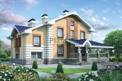 Проект двухэтажного дома 13x9 метров, общей площадью 214 м2, из газобетона (пеноблоков), c террасой, котельной и кухней-столовой