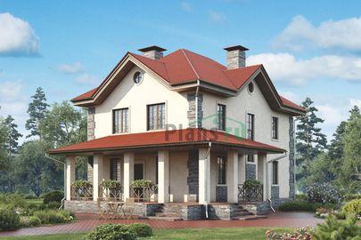 Проект двухэтажного дома 14x10 метров, общей площадью 146 м2, из керамических блоков, c террасой и котельной
