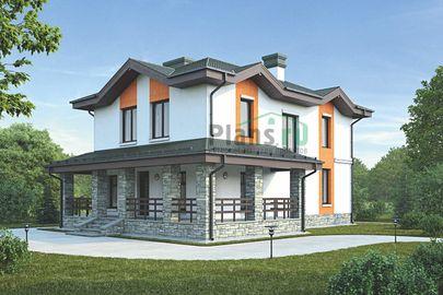 Проект двухэтажного дома 14x10 метров, общей площадью 150 м2, из газобетона (пеноблоков), c террасой и котельной