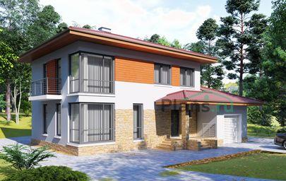 Проект двухэтажного дома 14x10 метров, общей площадью 165 м2, из кирпича, c гаражом, террасой, котельной и кухней-столовой