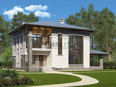 Проект двухэтажного дома 14x10 метров, общей площадью 178 м2, из керамических блоков, со вторым светом, c террасой, котельной и кухней-столовой