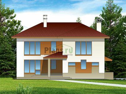 Проект двухэтажного дома 14x10 метров, общей площадью 187 м2, из газобетона (пеноблоков), c террасой, котельной и кухней-столовой