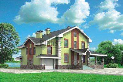 Проект двухэтажного дома 14x10 метров, общей площадью 202 м2, из газобетона (пеноблоков), c гаражом, террасой, котельной и кухней-столовой