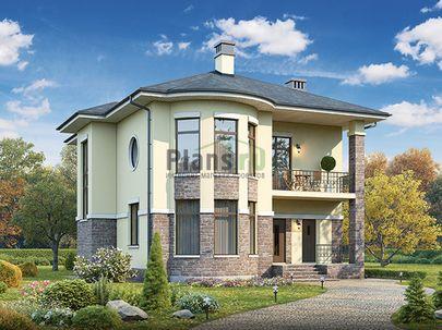 Проект двухэтажного дома 14x10 метров, общей площадью 210 м2, из керамических блоков, c террасой, котельной и кухней-столовой