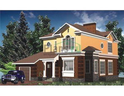 Проект двухэтажного дома 14x10 метров, общей площадью 295 м2, из керамических блоков, c гаражом и террасой