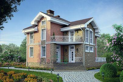 Проект двухэтажного дома 14x11 метров, общей площадью 162 м2, из керамических блоков, c террасой и котельной