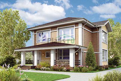 Проект двухэтажного дома 14x11 метров, общей площадью 176 м2, из газобетона (пеноблоков), c террасой и котельной