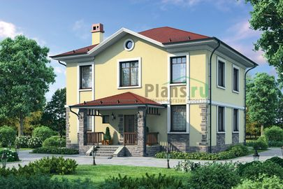 Проект двухэтажного дома 14x11 метров, общей площадью 179 м2, из газобетона (пеноблоков), c террасой, котельной и кухней-столовой