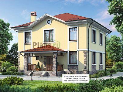 Проект двухэтажного дома 14x11 метров, общей площадью 181 м2, из кирпича, c террасой, котельной и кухней-столовой