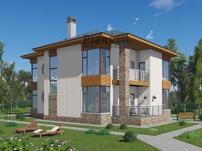Проект двухэтажного дома 14x11 метров, общей площадью 185 м2, из газобетона (пеноблоков), c террасой, котельной и кухней-столовой