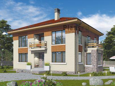 Проект двухэтажного дома 14x11 метров, общей площадью 188 м2, из газобетона (пеноблоков), c террасой, котельной и кухней-столовой