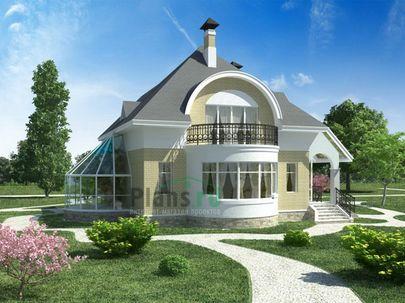 Проект двухэтажного дома 14x11 метров, общей площадью 189 м2, из кирпича, c зимним садом