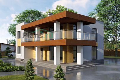 Проект двухэтажного дома 14x11 метров, общей площадью 210 м2, из кирпича, c террасой, котельной и кухней-столовой
