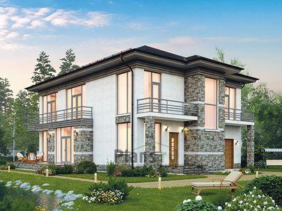 Проект двухэтажного дома 14x11 метров, общей площадью 251 м2, из керамических блоков, c террасой, котельной и кухней-столовой